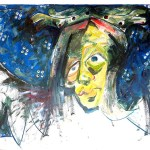 Mary - the Agony, Acrylic/Paper, 1984, by Terre Britton