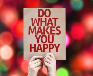 Do What Makes You Happy card with colorful background with defoc