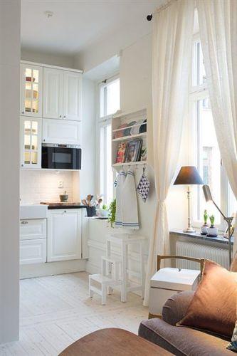 como decorar espacios pequeños. cocina-salón