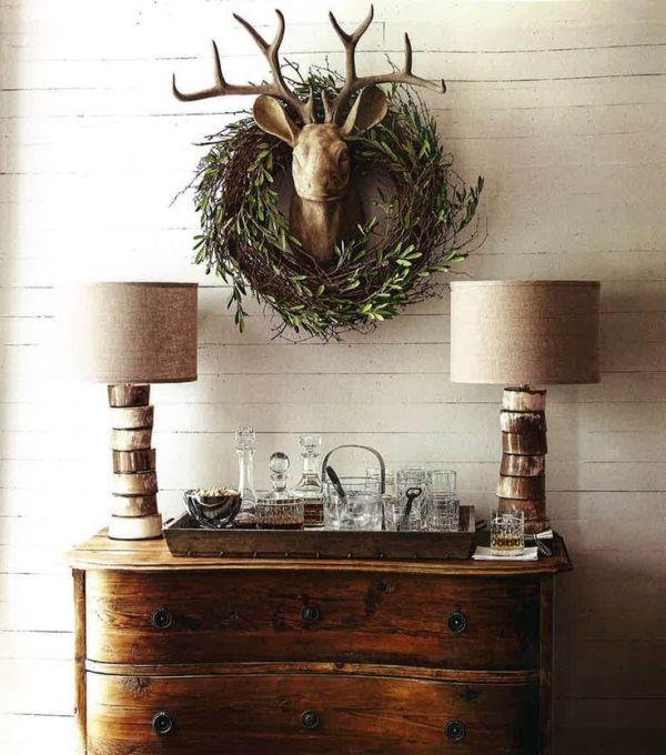 corona trofeos de caza. decoración de navidad
