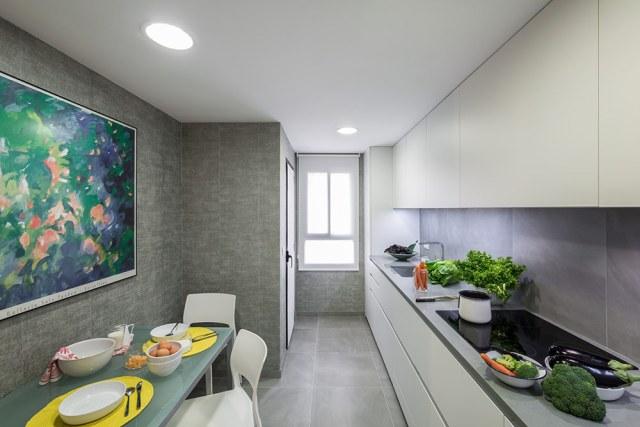 decoración de cocinas pequeñas estrechas