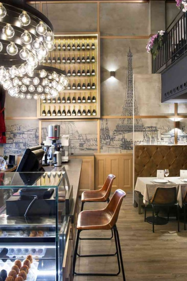 luminarias en decoración y mobiliario para cafetería