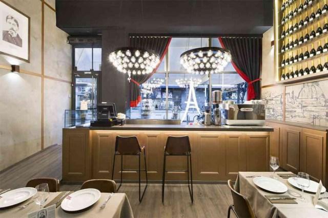 vista interior mobiliario para cafetería