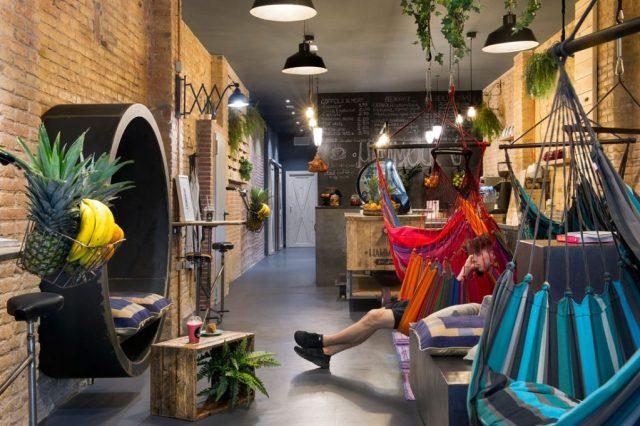 decoración interior de local de diseño para veganos
