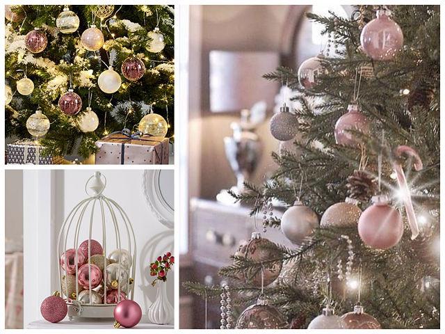 Decoración del árbol de navidad soft rosa y plata o dorado