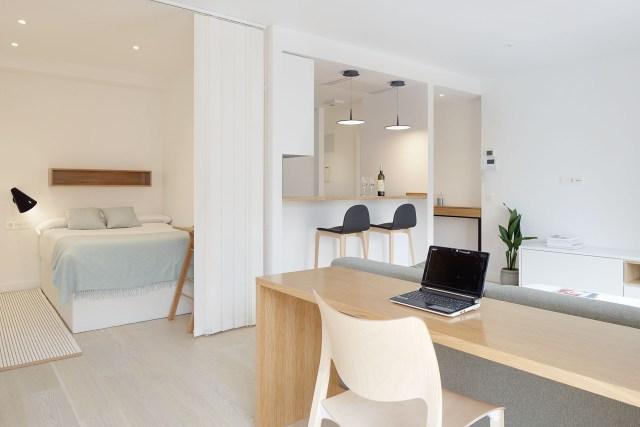 Dormitorio y salón abiertos para decorar un mini piso