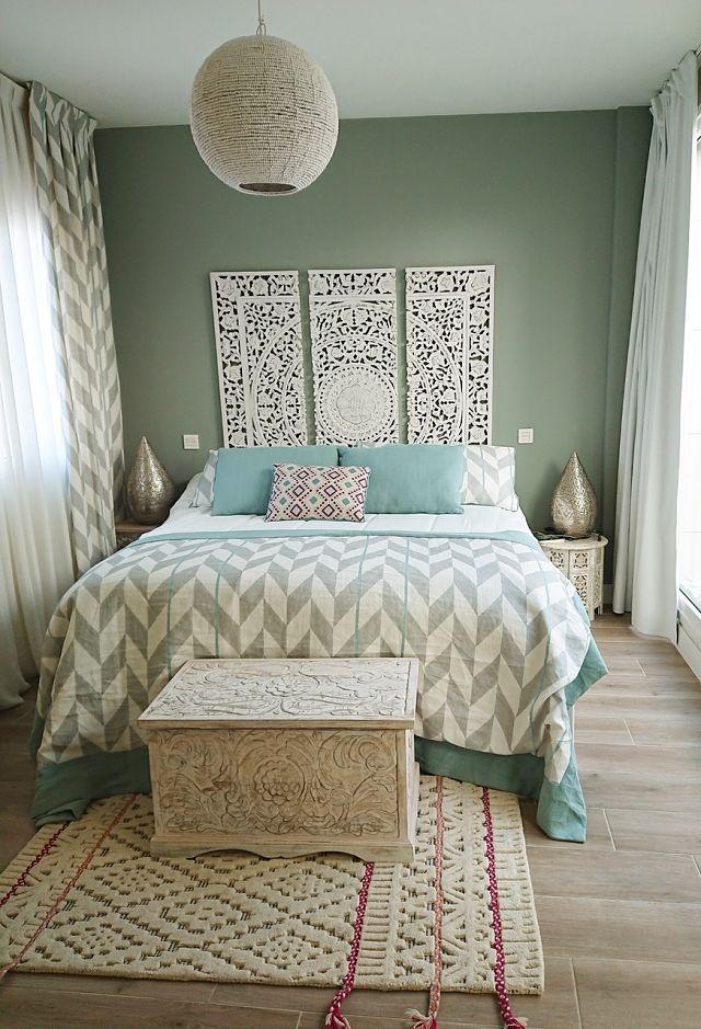 Dormitorio de estilo boho deco chic