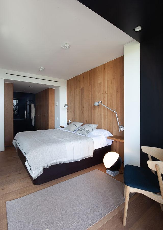 Dormitorio de diseño en interiores de casas modernas