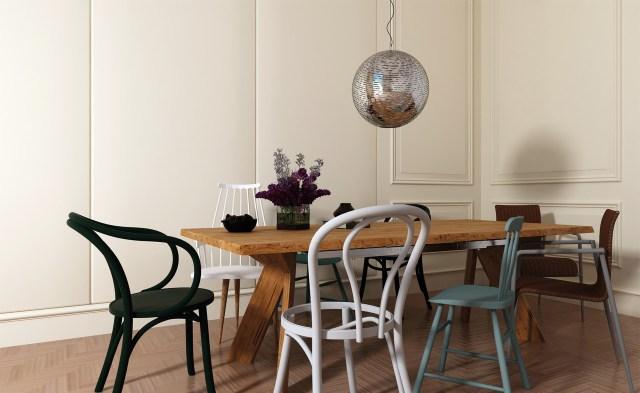 Comedor decorado con sillas pintadas en chalk `paint de Pinturas Macy