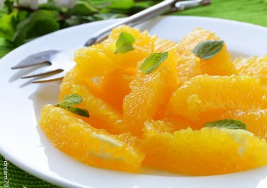 fruit salad with orange and mint