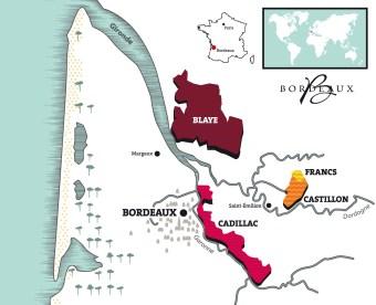 Carte Côtes de Bordeaux TerroirEvasion.com