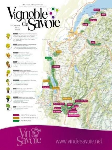Les vins de Savoie - Carte du vignoble de Savoie