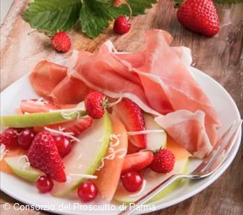 Salade de fruits melon jambon de Parme