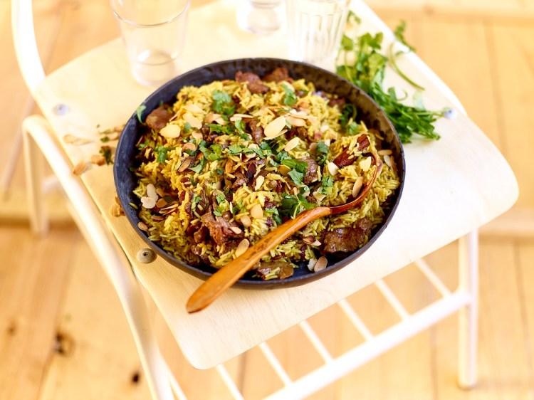 Agneau émincé et son riz pilaf