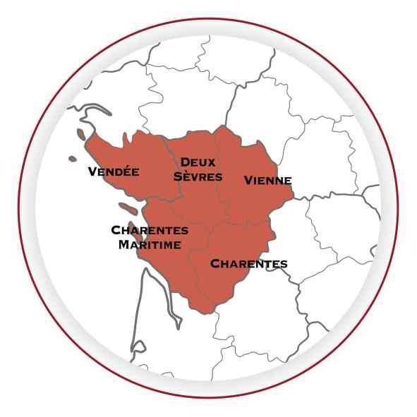 Beurre de Charentes Poitou - Les cinq départements de l'AOP