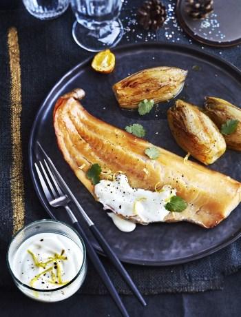 Haddock poché au lait endives braises lorange et sauce au yuzu