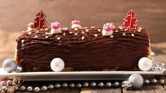 Menu Noël gourmand- Buche chocolat noir Marron