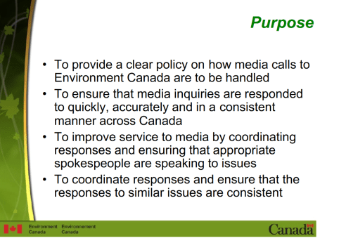 Leaked Environment Canada Powerpoint, courtesy Margaret Munro's Scribid Page.