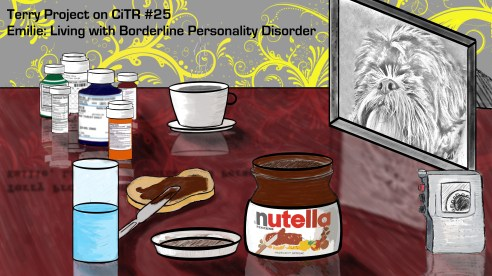 Nutella for breakfast, followed by Efexor, Lamictal, and Seroquel. For Emilie, this is routine. (Design by Talal Al Salem/Terry Project)