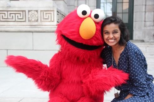 TEDx Terry Talks 2014 speaker Abeer Yusuf with longtime pal, Elmo.