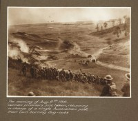ThemorningofAug.8th1918.Germanprisonersjusttaken,returninginchargeofasingleAustralianpasttheirownburningdug-outs_id_3007145371_PD
