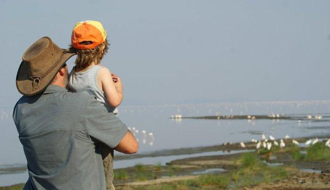 Bas met Julian bij Lake Manyara Tanzania