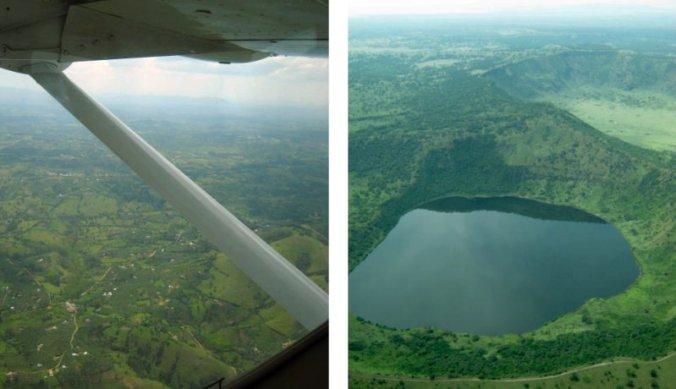 Landschap van Oeganda vanuit de lucht