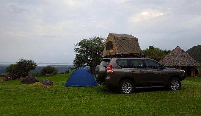Mooiste plekje op de campsite met uitzicht op Lake Manyara