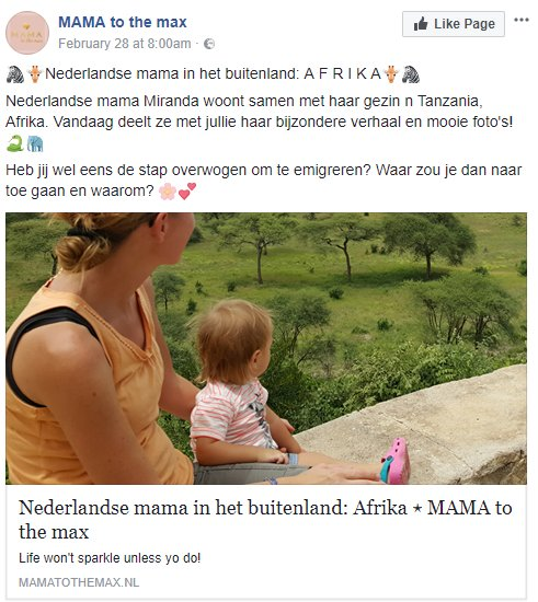 Mama to the Max in Tanzania op facebook