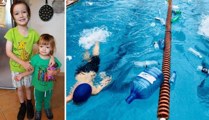Earth Day en zwemmen in een zwembad vol plastic