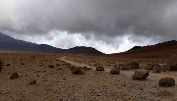 Het ruige landschap tijdens de beklimming van de Kilimanjaro