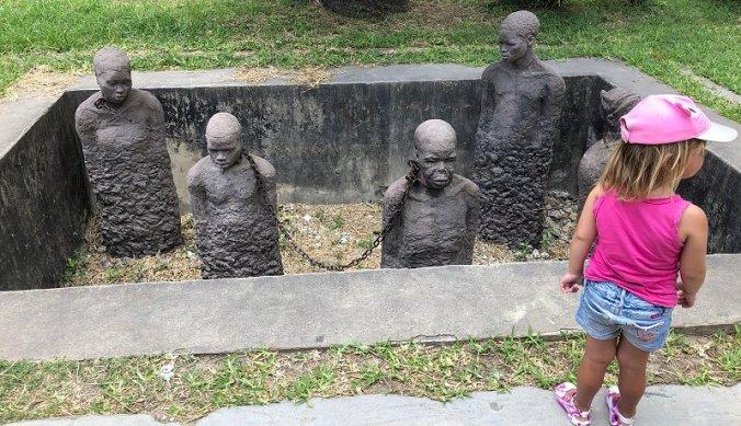 Monument op de slavenmarkt in Stone Town
