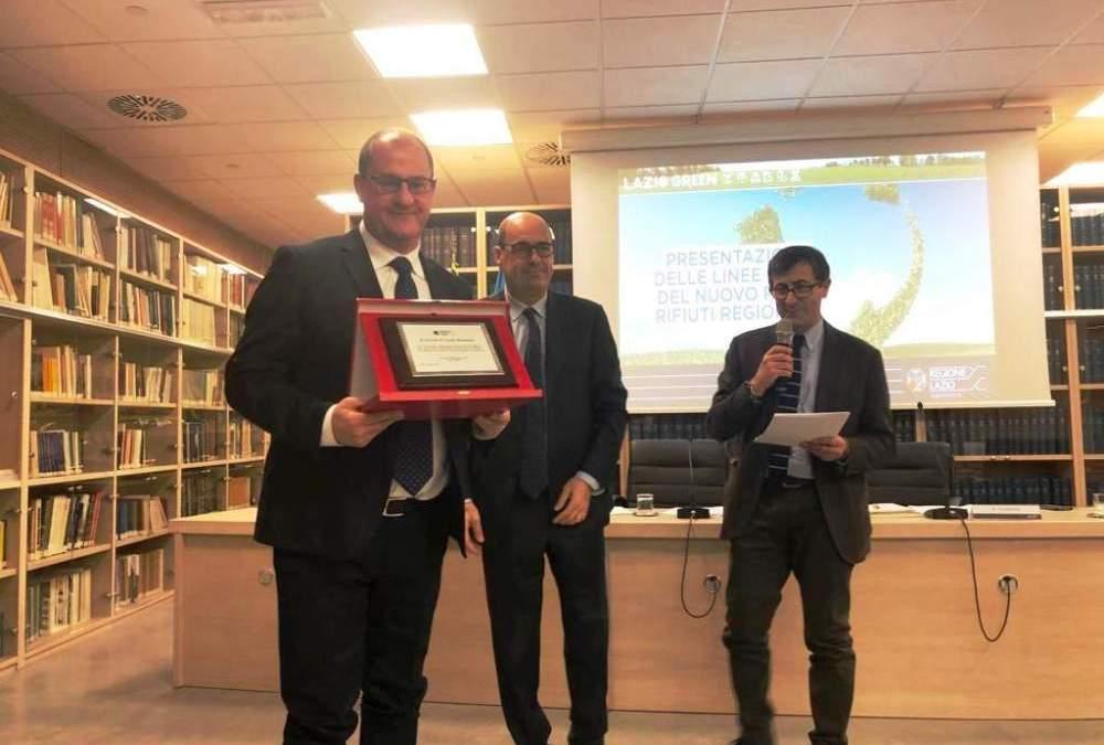 Rifiuti: Canale Monterano premiato dal Presidente Zingaretti