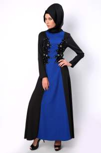 Tozlu Giyim boncuklu siyah-saks mavisi abiye tesettür elbise-100 TL