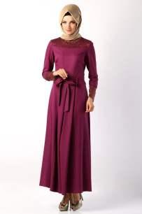 Tozlu Giyim dantel detalı kuşaklı mor tesettür elbise-60 TL