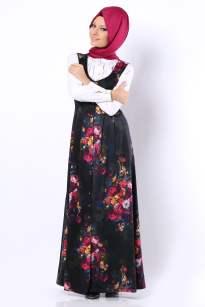 Tozlu Giyim desenli önü pileli kapalı elbise-75 TL