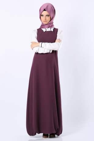 Tozlu Giyim içi gömlekli mor uzun elbise-105 TL