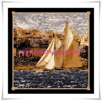 Armine yelkenli desenli eşarp-