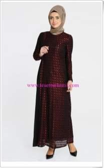 Tekbir kırmızı file elbise-400 TL