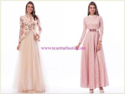 Shayan pudra kapalı abiye elbiseler
