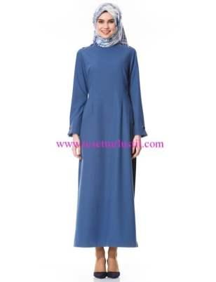 Kayra-omuzlari biye detayli elbise indigo