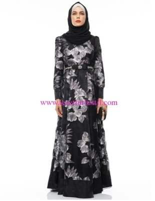 Kayra siyah çiçek desenli abiye elbise