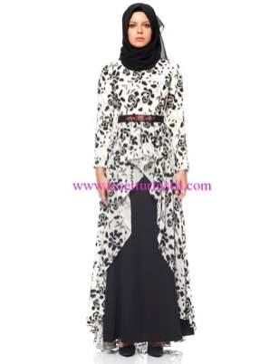 kayra siyah desenli abiye elbise