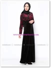drop-baskili-kadife-elbise-siyah-bordo-ginezza