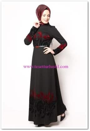 modamerve siyah çiçek nakışlı tesettür elbise