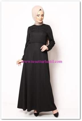 modamerve siyah incili tesettür elbise
