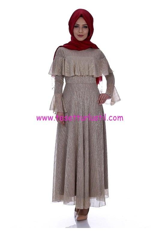 simli-firfir-elbise-6104-gold-kiraz giyim