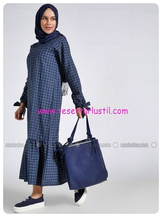 kareli-elbise-lacivert-benin-68 TL