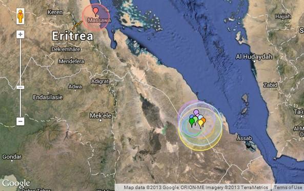 Swarm of Earthquakes - Eritrea (18 Sep 2013)