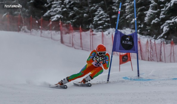 Practicing. Eritrean-Canadian ski racer Shannon Abeda with his Eritrean Ski race suit